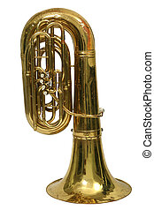 Wind musical instrument tuba on a white background -...