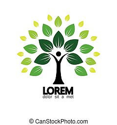 human life logo icon of abstract people tree vector. this...