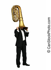 tuba - musician with a wind musical instrument tuba