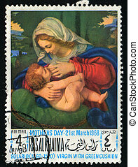 postmark - RAS AL KHAIMA - CIRCA 1968: birth of Jesus...