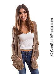 Studio shot of a beautiful young casual woman