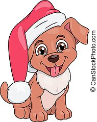 Little puppy with Santa hat - Illustration of the smiling...