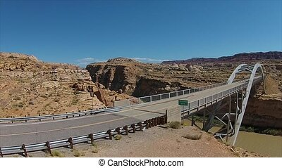 The Hite Crossing Bridge on Utah State Route 95. Crossing...