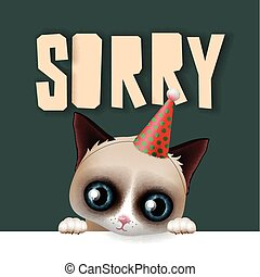 Cute grumpy cat apologize sorry card, vector illustration