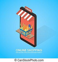 Buy shopping cart full of vegetables.