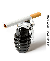 Cigarette on grenade - Single cigarette lying on a lighter...