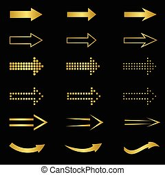 Golden Arrow set - Golden Arrow sign set Web internet design...