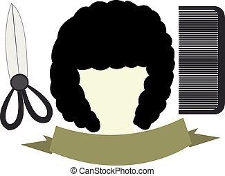 salon logo - salon bearing the frizzy hair with scissors and...