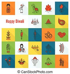 Diwali. Indian Festival Icons. Simple and Minimalistic...