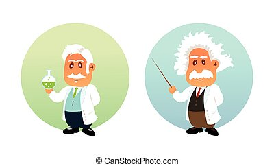 Funny illustration of Chemist and Mathematician - Funny flat...