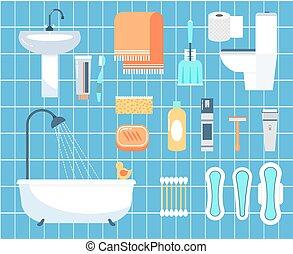 plano, Conjunto, iconos,  personal, higiene,  vector