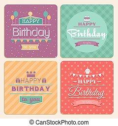 Happy Birthday vector card set in retro design style