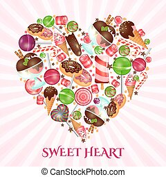 Sweet heart poster for sweet shop Food dessert, donut and...