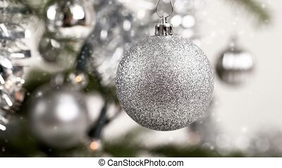 silver decorated christmas tree