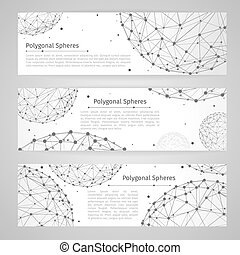 Vector banners set with wireframe mesh polygonal spheres