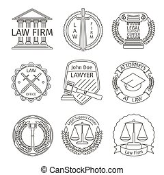 Juridical and legal logo elements in line style Juridical...