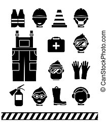 Job safety black icons. Personal protective equipment