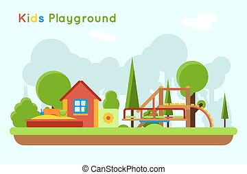 Slide and sandpit in the playground - Slide and sandpit...