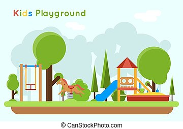 Kids playground flat vector concept background - Kids...