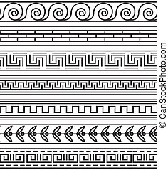 Seamless greek pattern set Antique frame, meander design,...