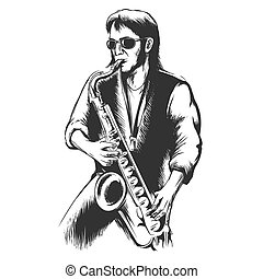 Saxophonist or saxophone player. Instrument and performance,...