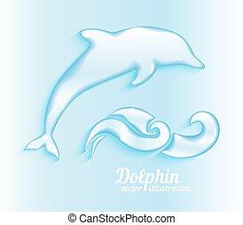 Jumping dolphin illustration - Jumping dolphin. Ocean...