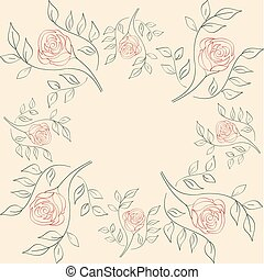 seamless illustration of flowers on a beige background.