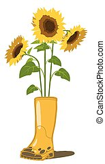 Sunflowers and garden rubber boots Vector illustration