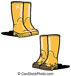 Illustration of the yellow rubber boots on a white...