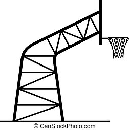 Basketball hoop in profile