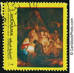 postmark - MANAMA - CIRCA 1972: birth of Jesus Christ, circa...