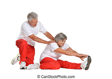 Senior Couple Exercising - Portrait Of A Senior Couple...