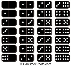 set of dominoes on white background on vector illustration