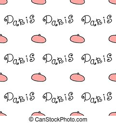 Doodle french background beret  fashion seamless pattern