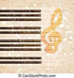 musical background piano keys and notes