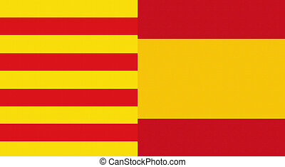 catalonia and spain flag - illustration of a catalonia and...