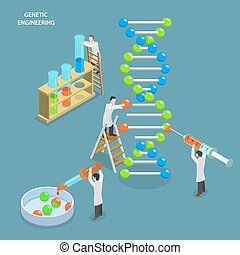 Genetic engineering isometric flat vector concept....