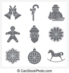 Set Monochrome Silhouettes Christmas Icons, Holiday Jingle...