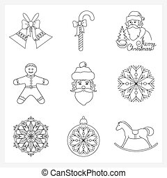 Set Christmas Thin Line Icons - Set Christmas Thin Line...
