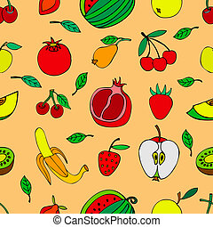 Seamless pattern with set of sweet fruits and berries. Food,...