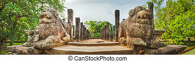The Council Chamber, Polonnaruwa, Sri Lanka. Panorama - The...