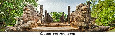 The Council Chamber, Polonnaruwa, Sri Lanka. Panorama - The...
