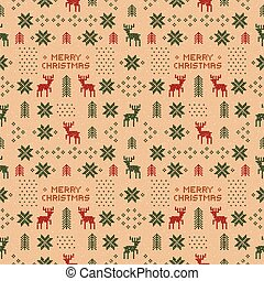 seamless brown retro christmas pattern with deers, trees and snowflakes.