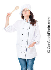 Woman chef with wooden spoon - Portrait of young female cook...