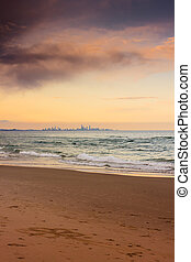 Gold Coast City In The Horizonth - The city skyline seen...