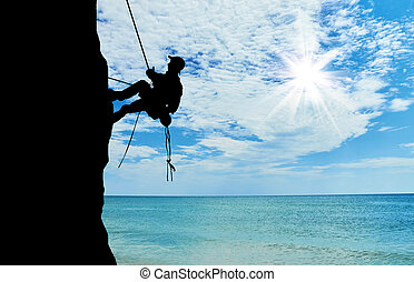 silueta, escalador, escalando, Um, montanha,