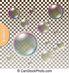 Realistic soap Transparent bubbles with colored  rainbow reflection set isolated vector