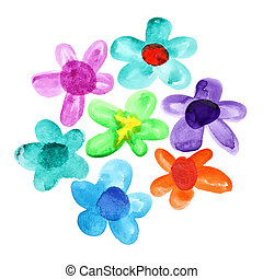 Bunch of watercolor flowers - Bunch of multicoloured...