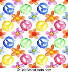 Colorful peace signs and flowers