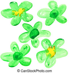Green watercolor flowers - Set of green watercolor flowers...